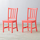 "Set of 2 Parker Pink Kids ChairsFloor to Seat: 14"" H"