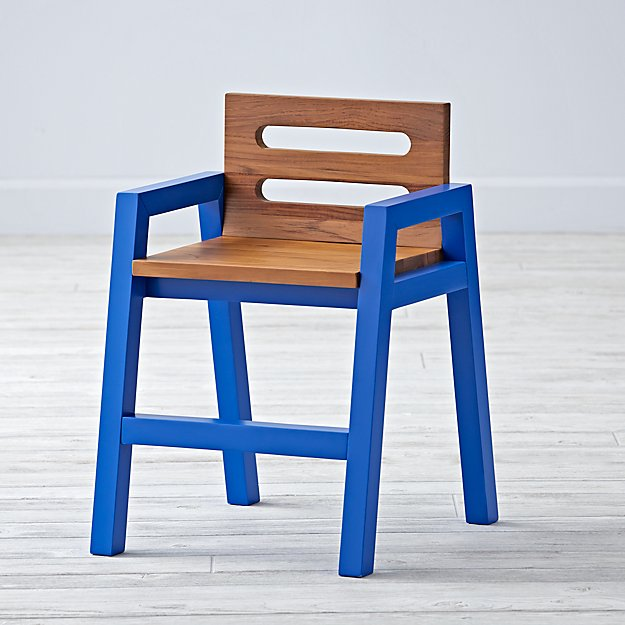 Two-Tone Teak Cobalt Kids Chair