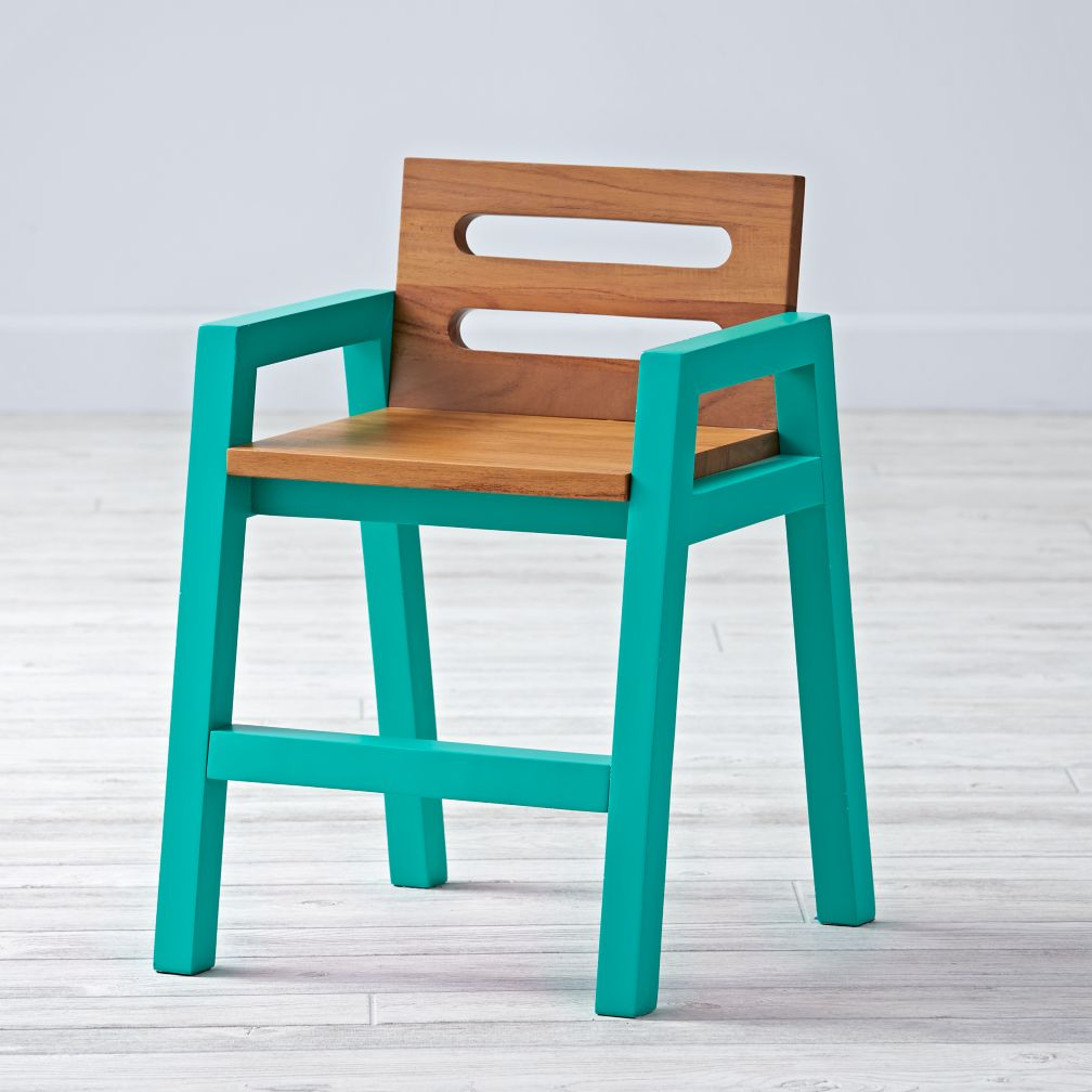 Two-Tone Teak Green Kids Chair