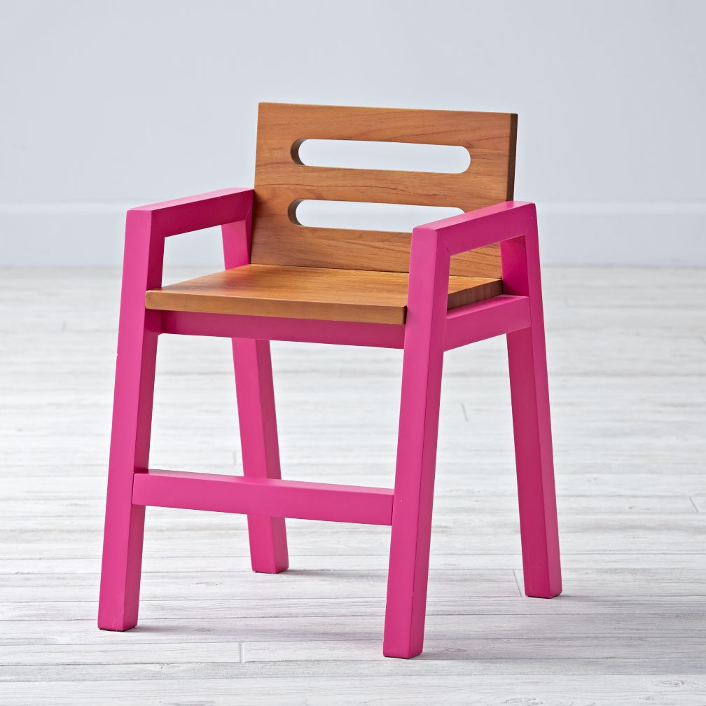 Two-Tone Teak Magenta Kids Chair