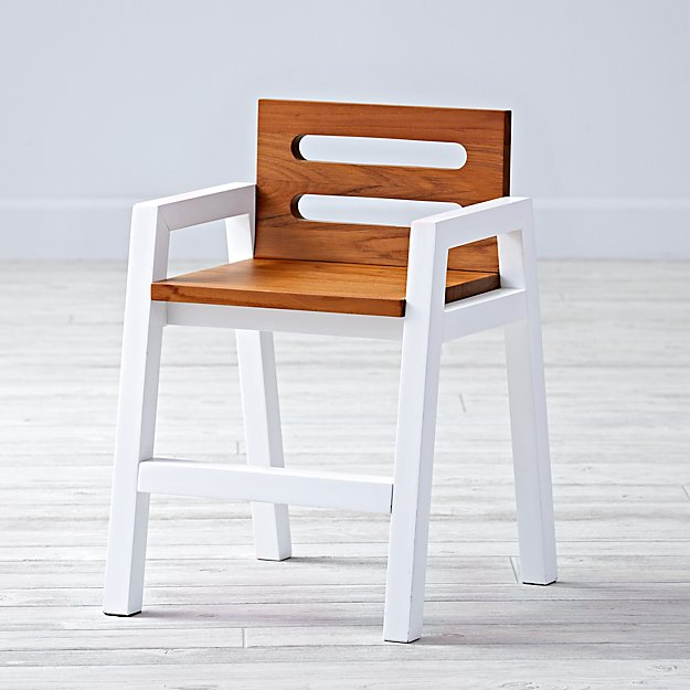 Two-Tone Teak White Kids Chair