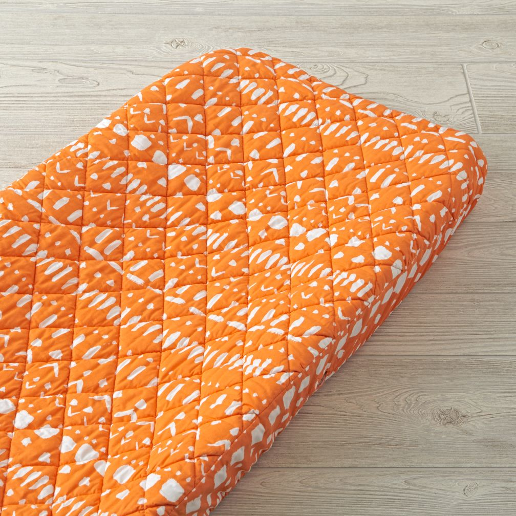 Wild Excursion Orange Tribal Changing Pad Cover