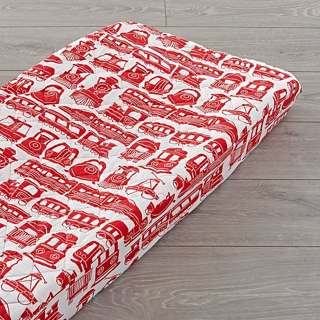 All Aboard Red Train Changing Pad Cover