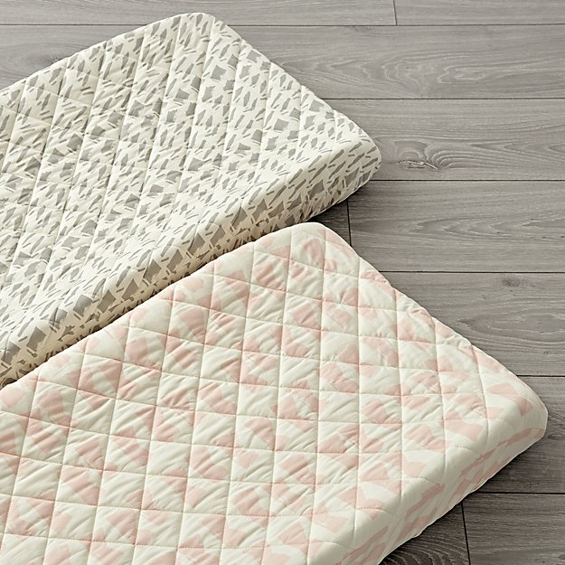 Set of 2 Daily Sketch Pink Changing Pad Covers