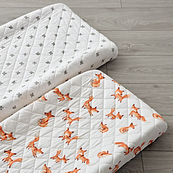 Set of 2 Fox Changing Pad Covers
