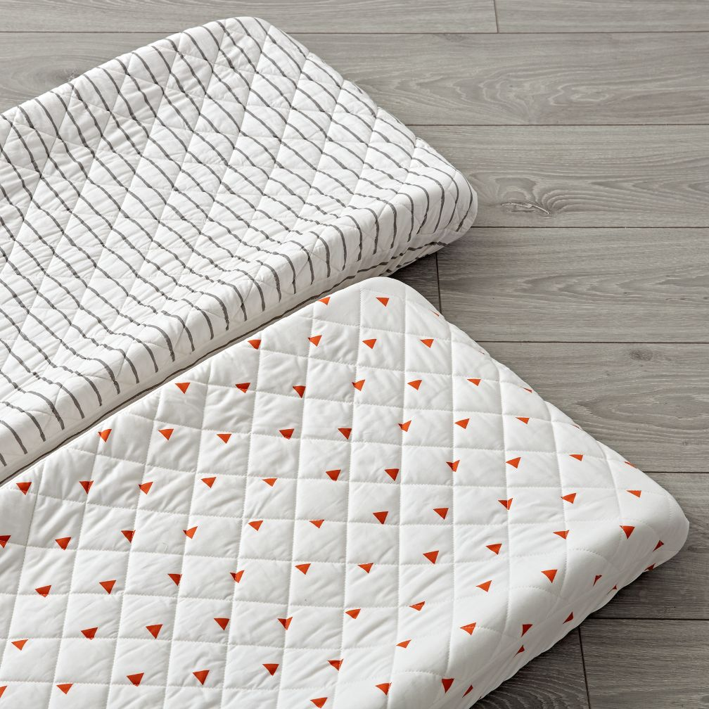 Set of 2 Little Prints Orange Changing Pad Covers