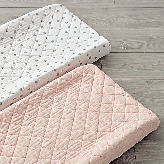 Set of 2 Well Nested Pink Changing Pad Covers