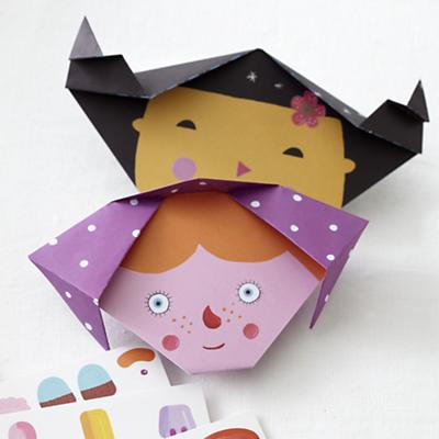 "Origami Faces Kit<br /><br />paper"" 8 x 8""h"