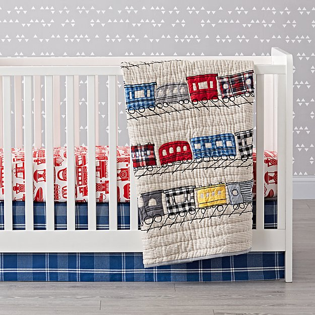 All Aboard Train Crib Bedding