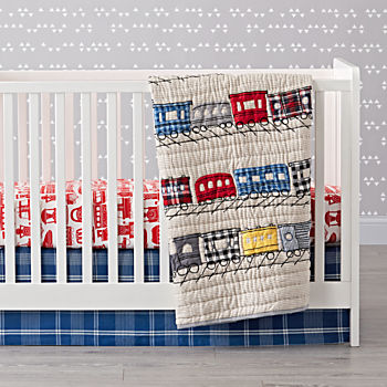 All Aboard Train Crib Bedding (3-Piece Set)