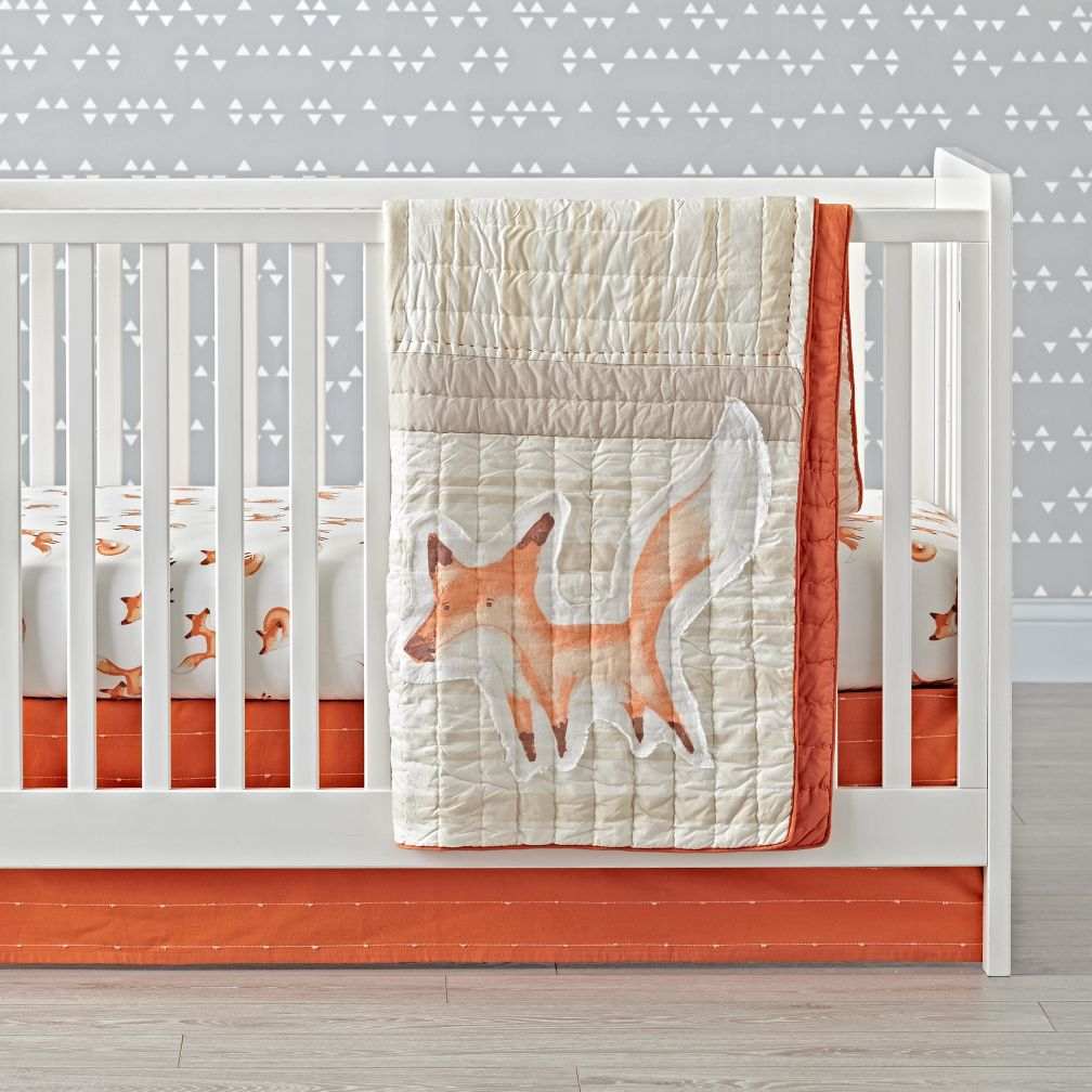 orange crib skirt - fox crib bedding the land of nod