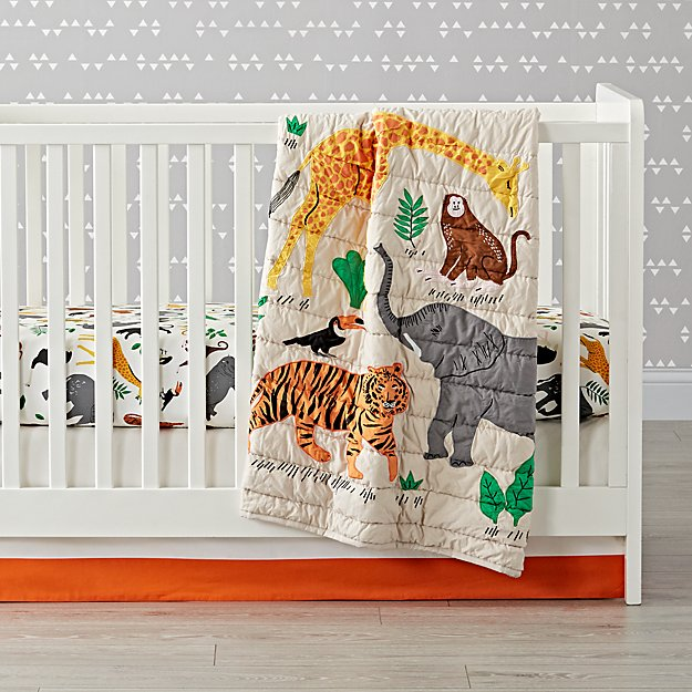 Applique Jungle Animal Crib Bedding