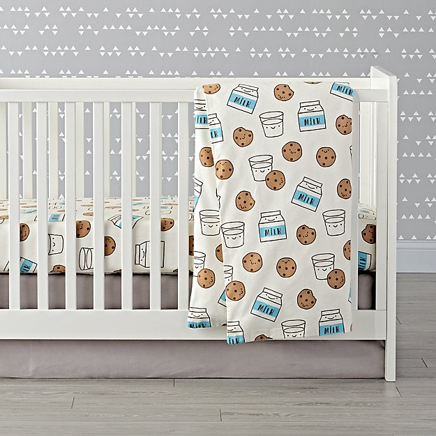 Organic Milk and Cookies Flannel Crib Bedding