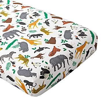 Organic Jungle Animal Crib Fitted Sheet