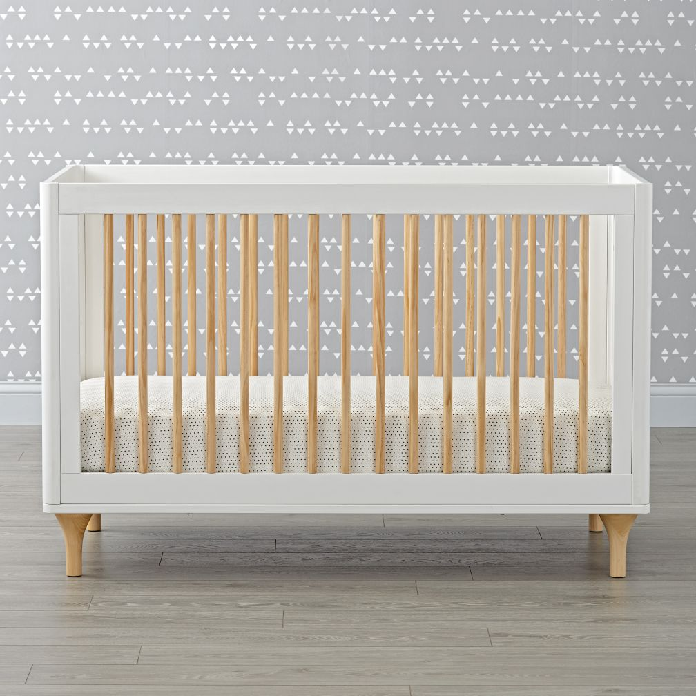 baby cribs convertible storage  mini  the land of nod - babyletto lolly white  natural convertible crib