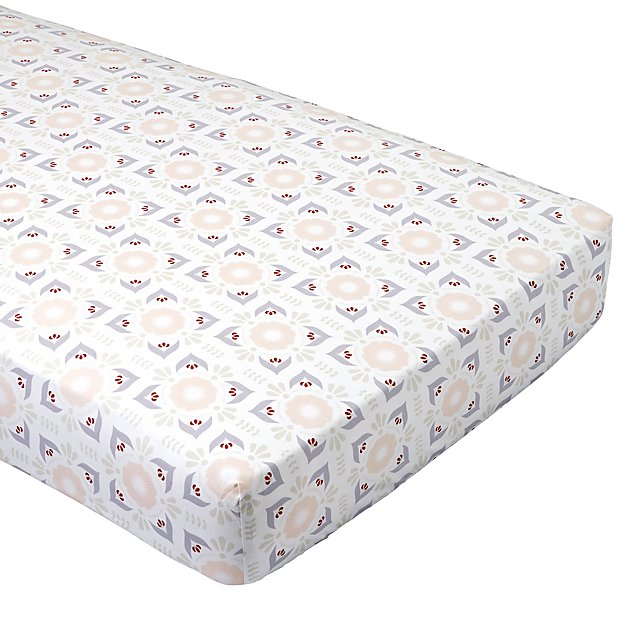 Organic Floral Mosaic Crib Fitted Sheet