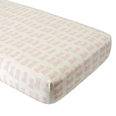 Organic Daily Sketch Pink Crib Fitted Sheet