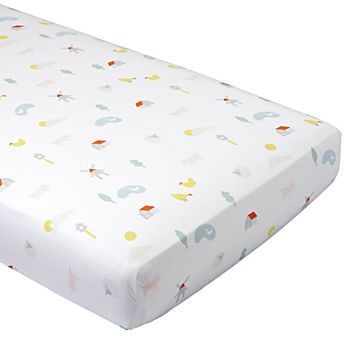 Organic Farm Animal Crib Fitted Sheet
