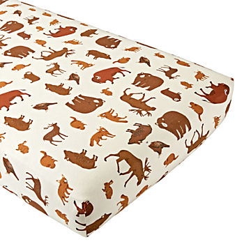 Organic Animal Flannel Crib Fitted Sheet