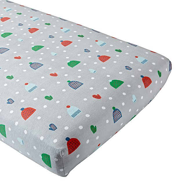 Snow Day Flannel Crib Fitted Sheet