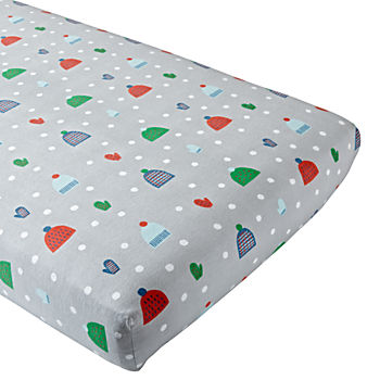 snow day flannel crib fitted sheet - Crib Sheets