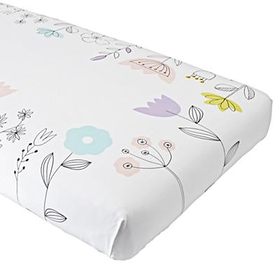Organic Floral Suite White Crib Fitted Sheet