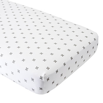Organic  Iconic Grey X Crib Fitted Sheet