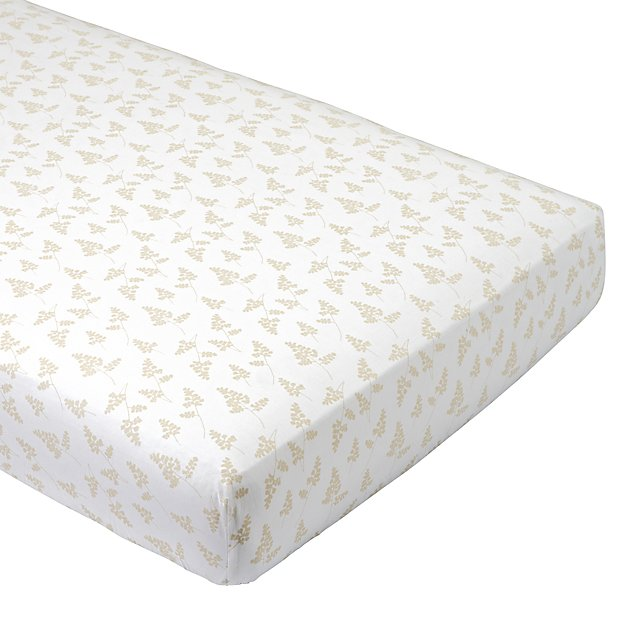 Organic Natural Leaf Crib Fitted Sheet