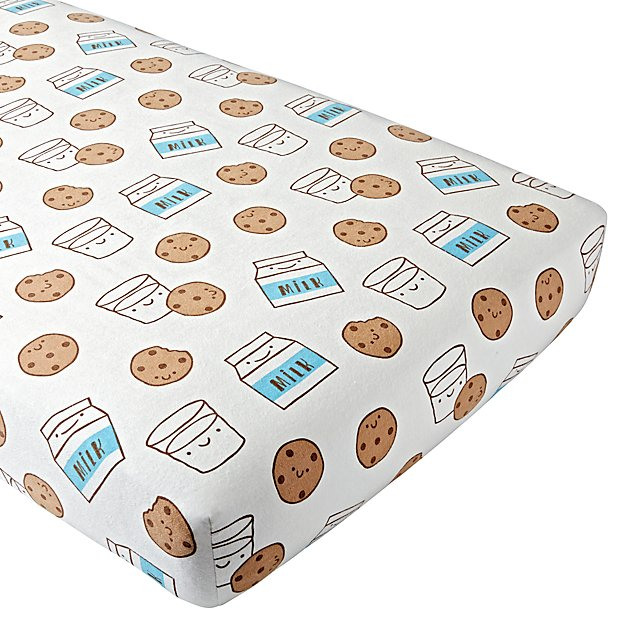 Organic Milk and Cookies Flannel Crib Fitted Sheet