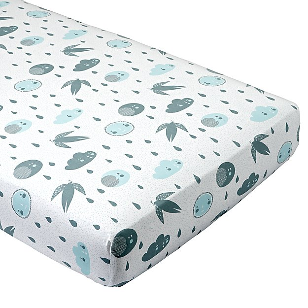 Organic Night and Day Blue Moon Crib Fitted Sheet