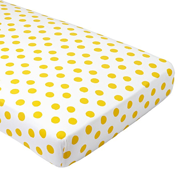 Organic Apple Orchard Yellow Dot Crib Fitted Sheet
