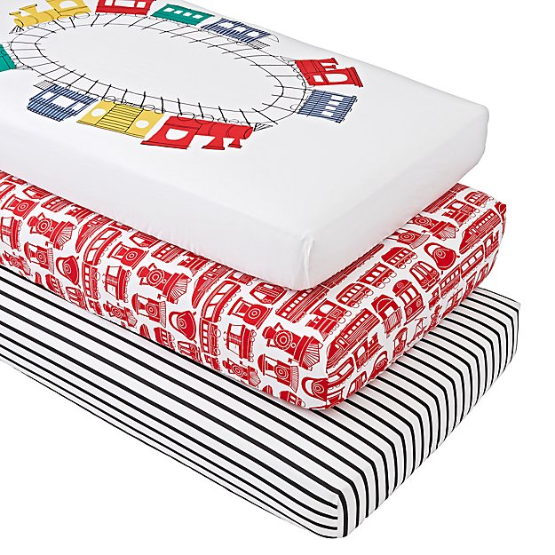 Organic All Aboard Crib Fitted Sheets (Set of 3)