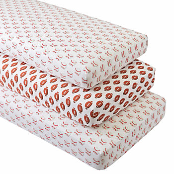 Organic Baseball/Football Crib Fitted Sheets (Set of 3)