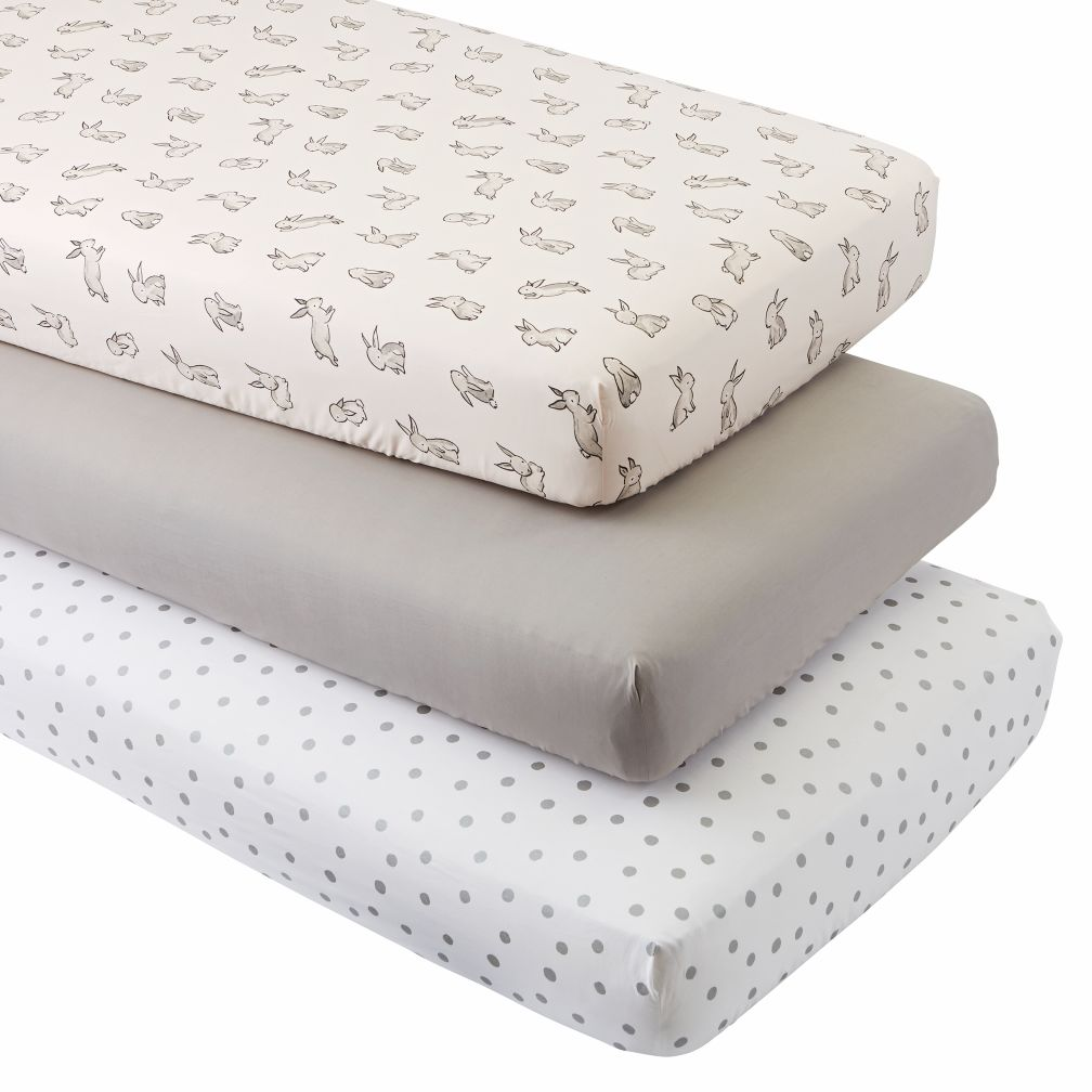 organic bunny crib fitted sheets set of 3 the land of nod. Black Bedroom Furniture Sets. Home Design Ideas