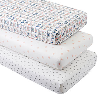 Organic Butterfly Dot Crib Fitted Sheets (Set of 3)