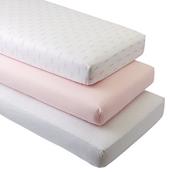 Organic Pink Clouds Crib Fitted Sheets (Set of 3)