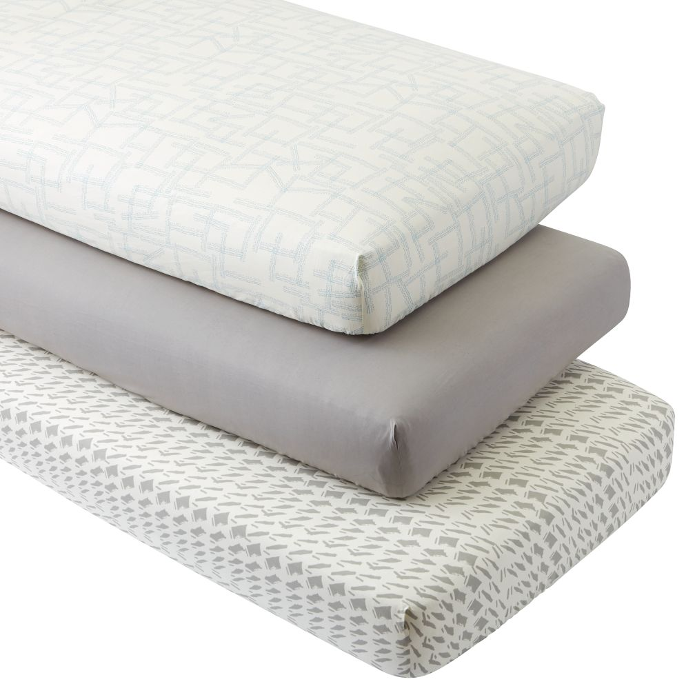 Organic Daily Sketch Blue Crib Fitted Sheets (Set of 3)