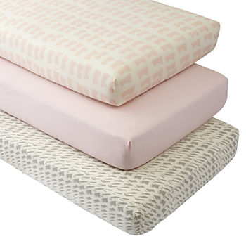 Organic Daily Sketch Pink Crib Fitted Sheets (Set of 3)