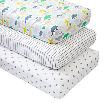 Organic Dinosaur Crib Fitted Sheets (Set of 3)