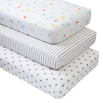 Organic Farm Animal Crib Fitted Sheets (Set of 3)