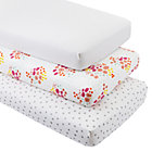 Organic Flower Show Crib Fitted Sheets (Set of 3)