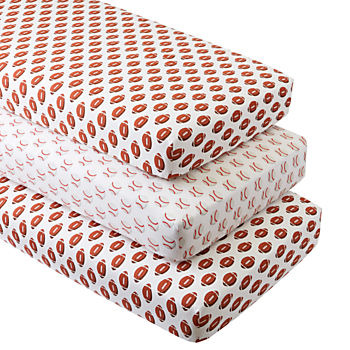 Organic Football/Baseball Crib Fitted Sheets (Set of 3)