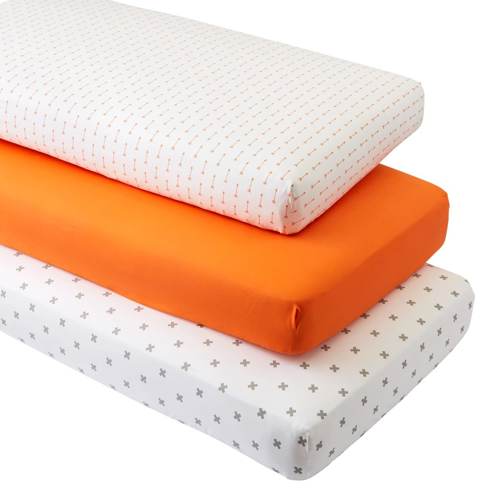 Iconic Orange Arrow Crib Fitted Sheets (Set of 3)