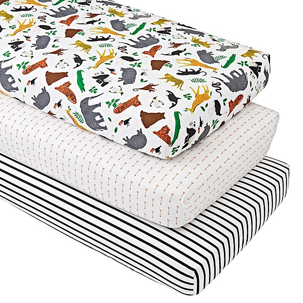 Jungle Animal Crib Fitted Sheets (Set of 3)