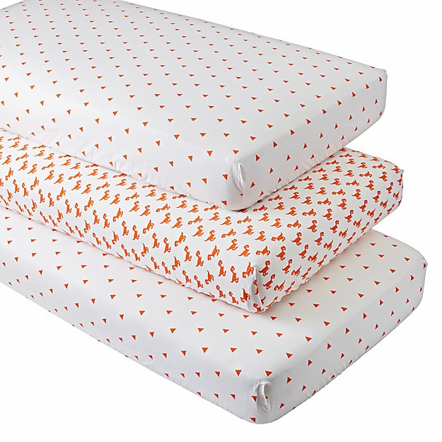 Organic Little Prints Crib Fitted Sheets (Set of 3)