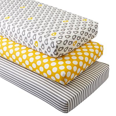 Not a Peep Crib Fitted Sheets (Set of 3)