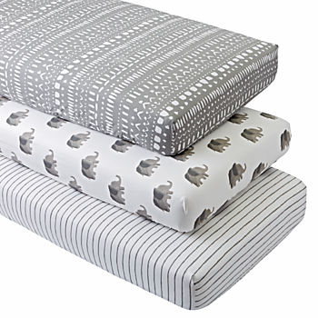 Organic Wild Excursion Elephant Crib Fitted Sheets (Set of 3)