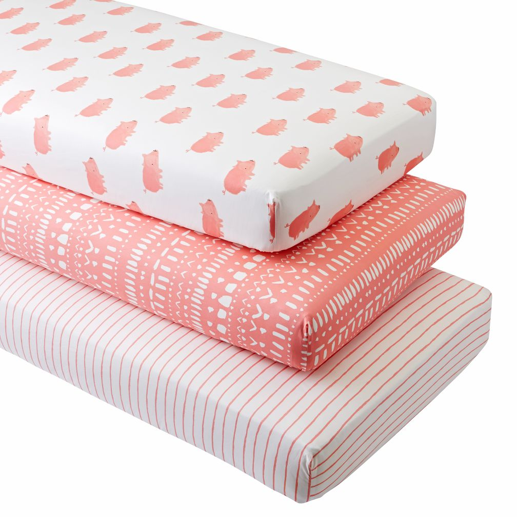 Wild Excursion Pig Crib Fitted Sheets (Set of 3)