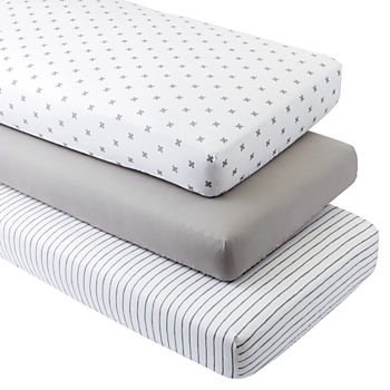 Organic Iconic Grey X Crib Fitted Sheets (Set of 3)