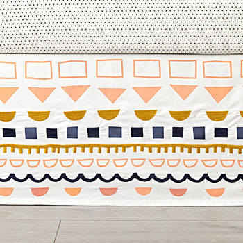 Night and Day Patterned Crib Skirt